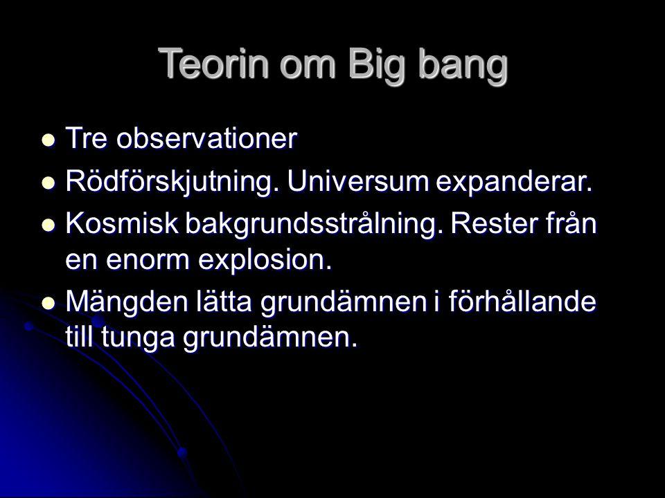 Teorin om Big bang Tre observationer Tre observationer Rödförskjutning. Universum expanderar. Rödförskjutning. Universum expanderar. Kosmisk bakgrunds