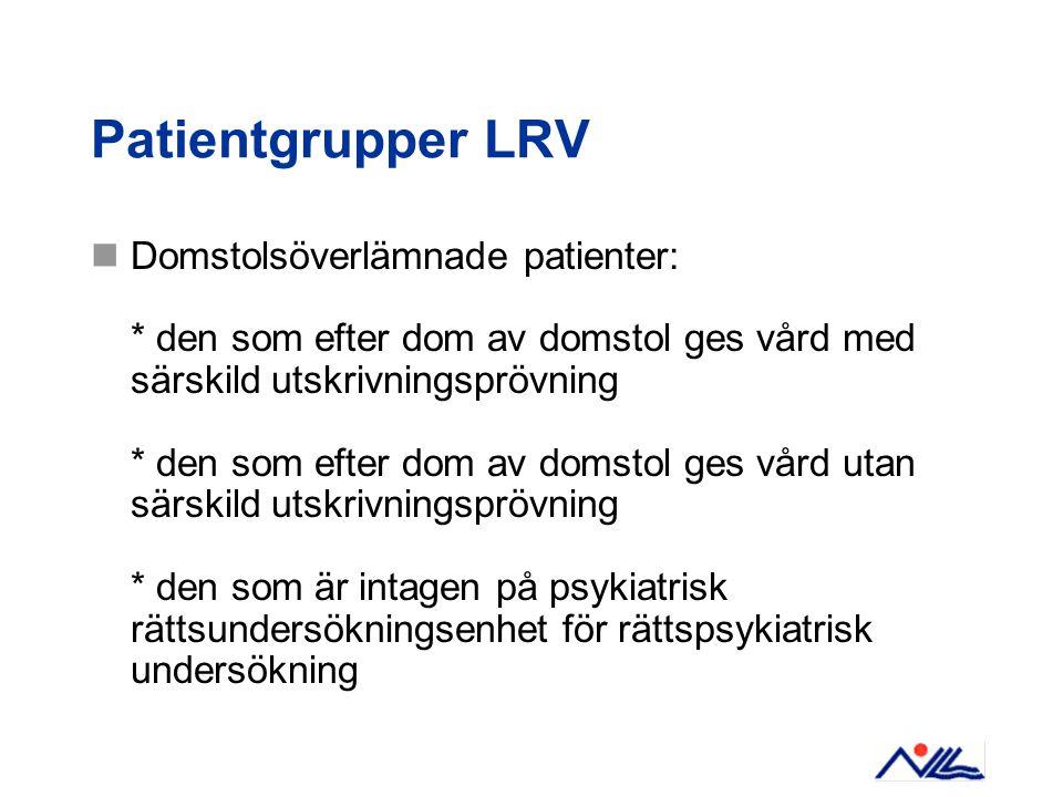Patientgrupper LRV Domstolsöverlämnade patienter: * den som efter dom av domstol ges vård med särskild utskrivningsprövning * den som efter dom av dom