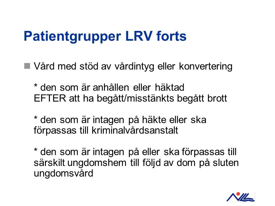 Patientgrupper LRV forts Vård med stöd av vårdintyg eller konvertering * den som är anhållen eller häktad EFTER att ha begått/misstänkts begått brott