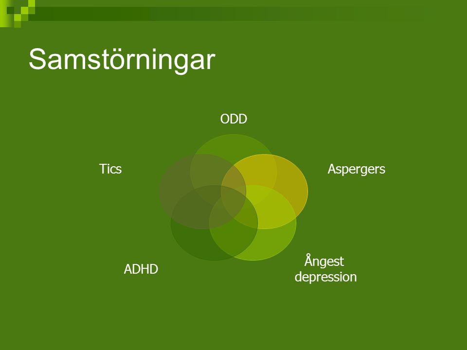 Samstörningar ODD Aspergers Ångest depression ADHD Tics