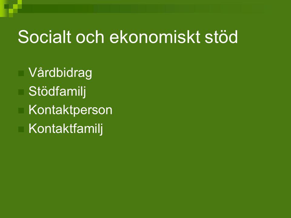 Socialt och ekonomiskt stöd Vårdbidrag Stödfamilj Kontaktperson Kontaktfamilj