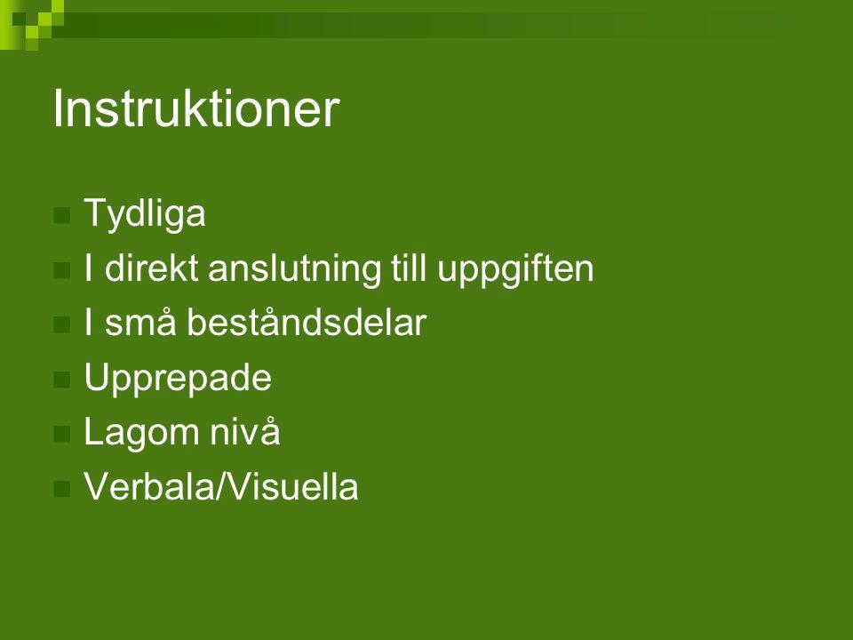 Instruktioner Tydliga I direkt anslutning till uppgiften I små beståndsdelar Upprepade Lagom nivå Verbala/Visuella