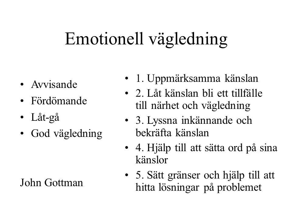 Emotionell vägledning Avvisande Fördömande Låt-gå God vägledning John Gottman 1.