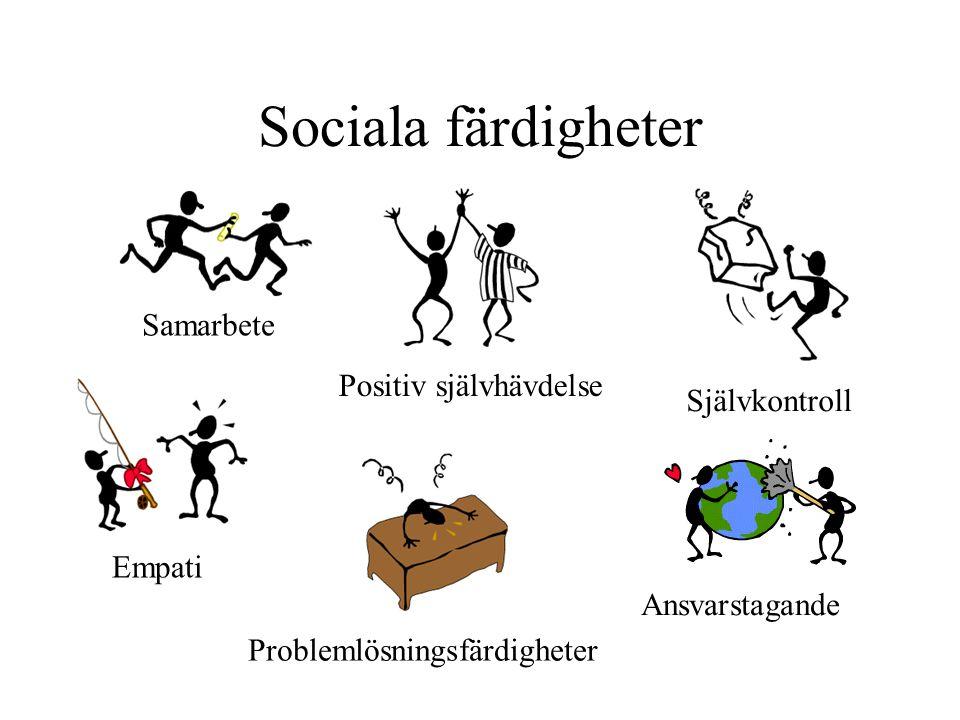 Sociala färdigheter Samarbete Empati Positiv självhävdelse Problemlösningsfärdigheter Självkontroll Ansvarstagande
