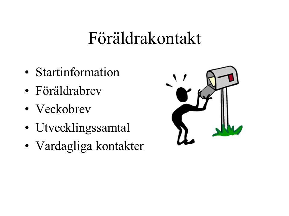 Föräldrakontakt Startinformation Föräldrabrev Veckobrev Utvecklingssamtal Vardagliga kontakter