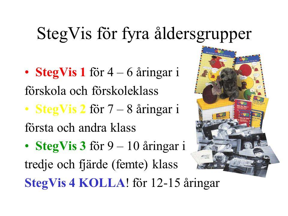 StegVis för fyra åldersgrupper StegVis 1 för 4 – 6 åringar i förskola och förskoleklass StegVis 2 för 7 – 8 åringar i första och andra klass StegVis 3 för 9 – 10 åringar i tredje och fjärde (femte) klass StegVis 4 KOLLA.