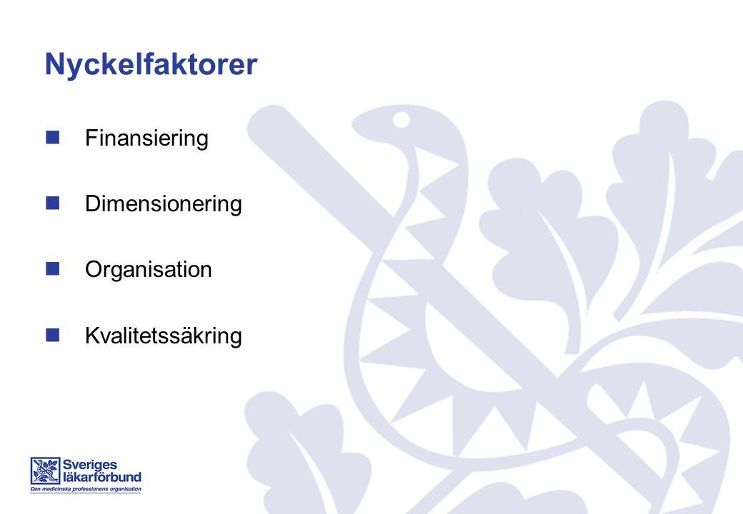 Nyckelfaktor - finansiering Överenskommen och tydlig modell Synliggöra kostnaden för ST Långsiktighet