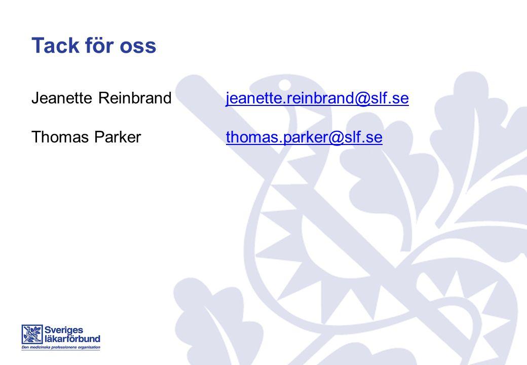 Tack för oss Jeanette Reinbrand jeanette.reinbrand@slf.sejeanette.reinbrand@slf.se Thomas Parkerthomas.parker@slf.sethomas.parker@slf.se
