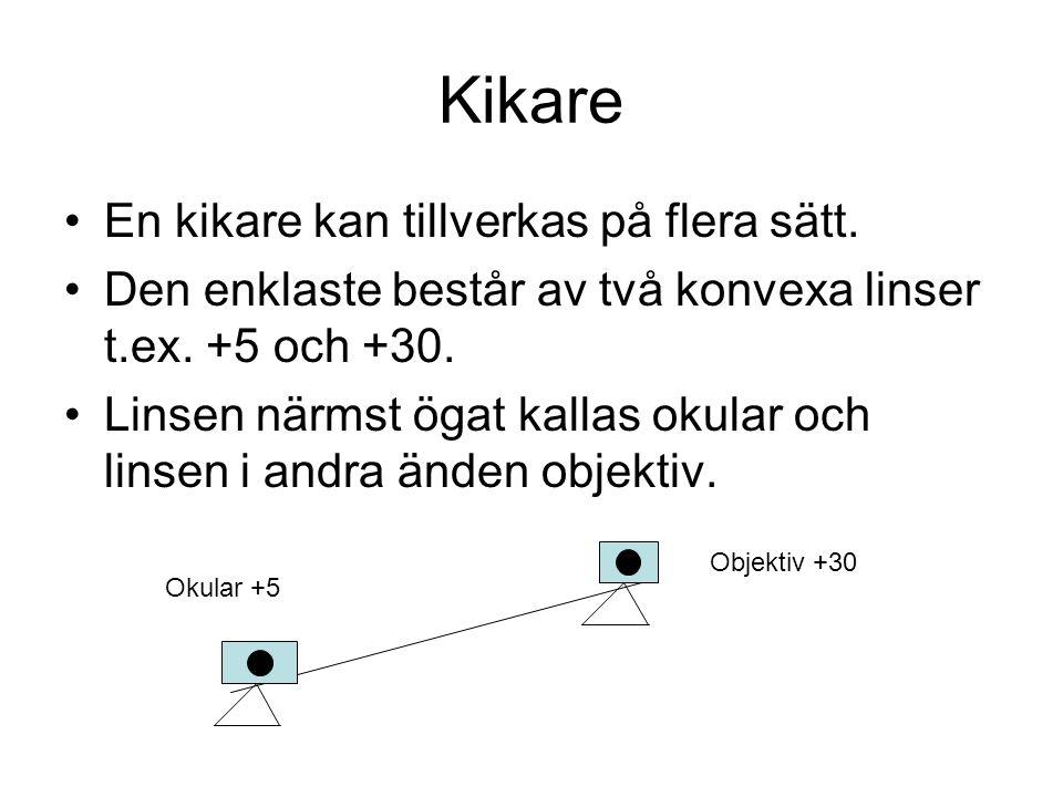 Kikare En kikare kan tillverkas på flera sätt. Den enklaste består av två konvexa linser t.ex. +5 och +30. Linsen närmst ögat kallas okular och linsen
