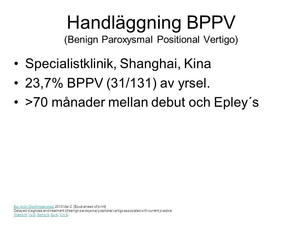 Handläggning BPPV (Benign Paroxysmal Positional Vertigo) Specialistklinik, Shanghai, Kina 23,7% BPPV (31/131) av yrsel. >70 månader mellan debut och E