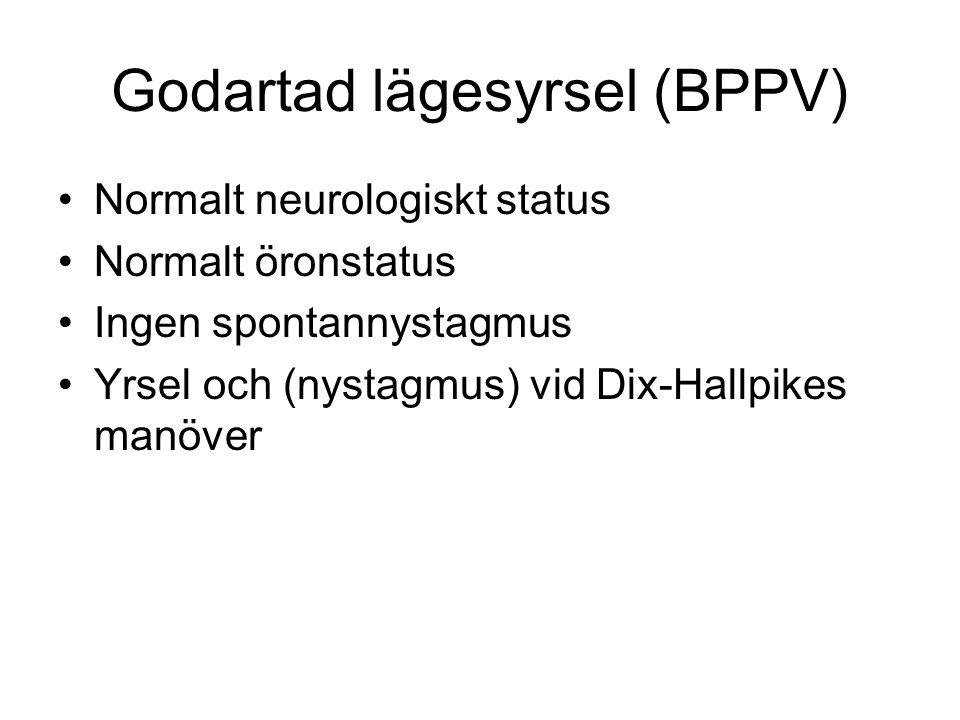 Godartad lägesyrsel (BPPV) Normalt neurologiskt status Normalt öronstatus Ingen spontannystagmus Yrsel och (nystagmus) vid Dix-Hallpikes manöver