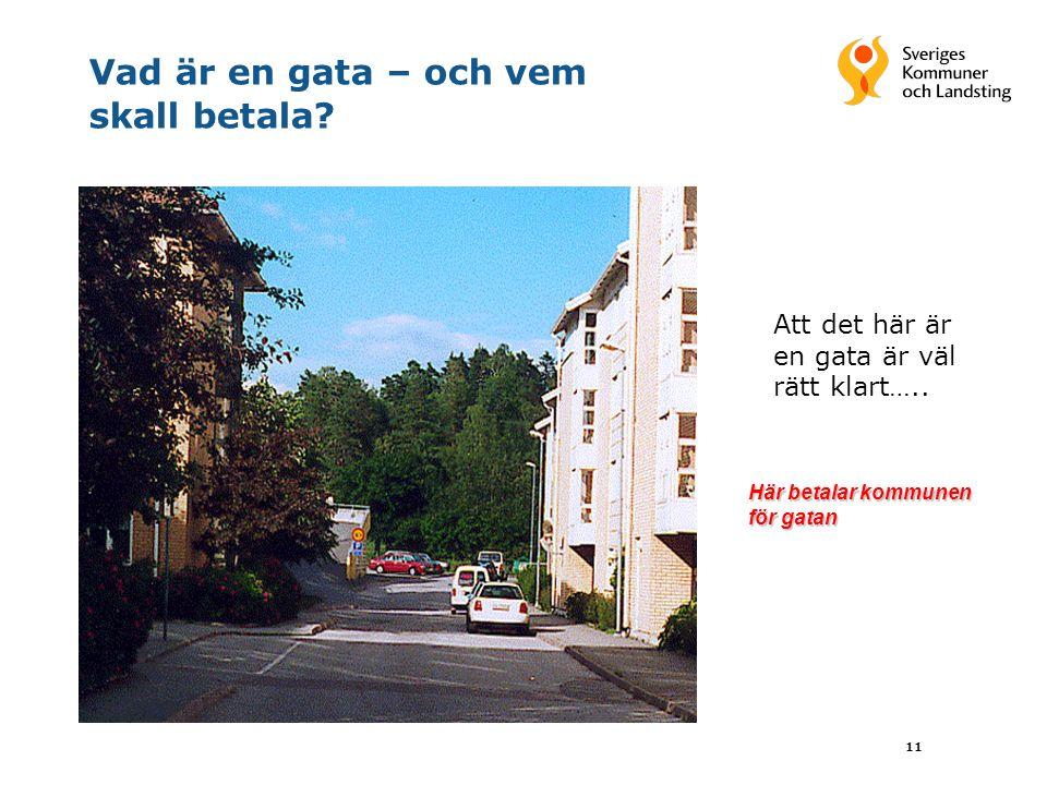 11 Vad är en gata – och vem skall betala? Att det här är en gata är väl rätt klart….. Här betalar kommunen för gatan