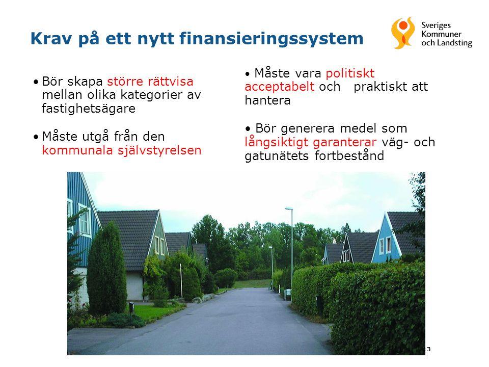 13 Krav på ett nytt finansieringssystem Bör skapa större rättvisa mellan olika kategorier av fastighetsägare Måste utgå från den kommunala självstyrel