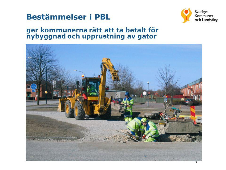 6 Bestämmelser i PBL ger kommunerna rätt att ta betalt för nybyggnad och upprustning av gator