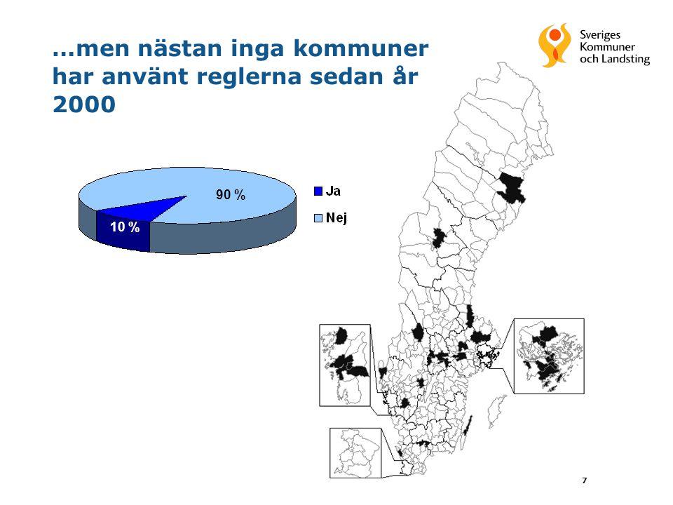 7 …men nästan inga kommuner har använt reglerna sedan år 2000 90 % 10 %