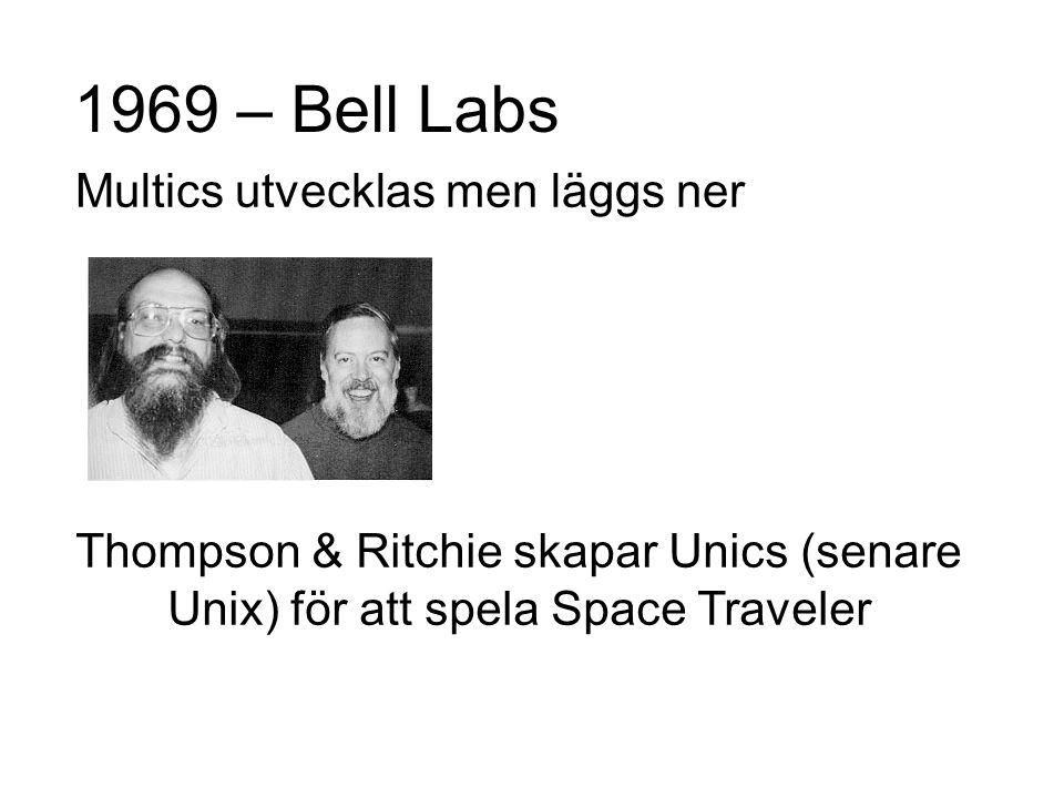 1969 – Bell Labs Multics utvecklas men läggs ner Thompson & Ritchie skapar Unics (senare Unix) för att spela Space Traveler