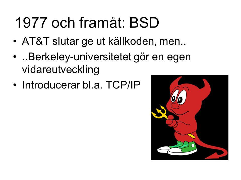 1977 och framåt: BSD AT&T slutar ge ut källkoden, men....Berkeley-universitetet gör en egen vidareutveckling Introducerar bl.a.