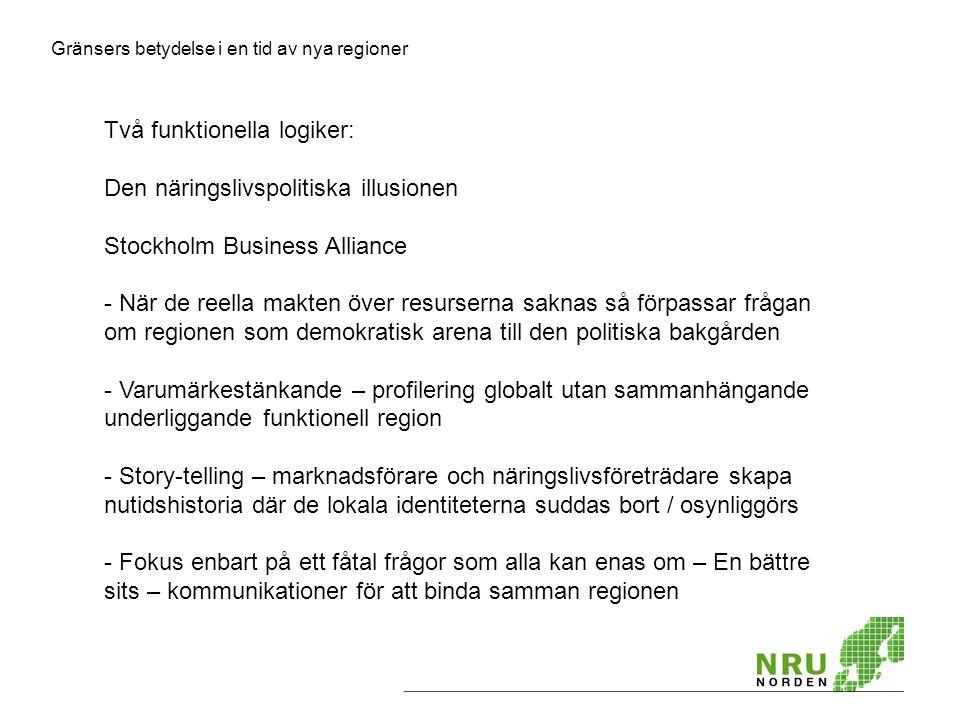 Gränsers betydelse i en tid av nya regioner Två funktionella logiker: Den näringslivspolitiska illusionen Stockholm Business Alliance - När de reella