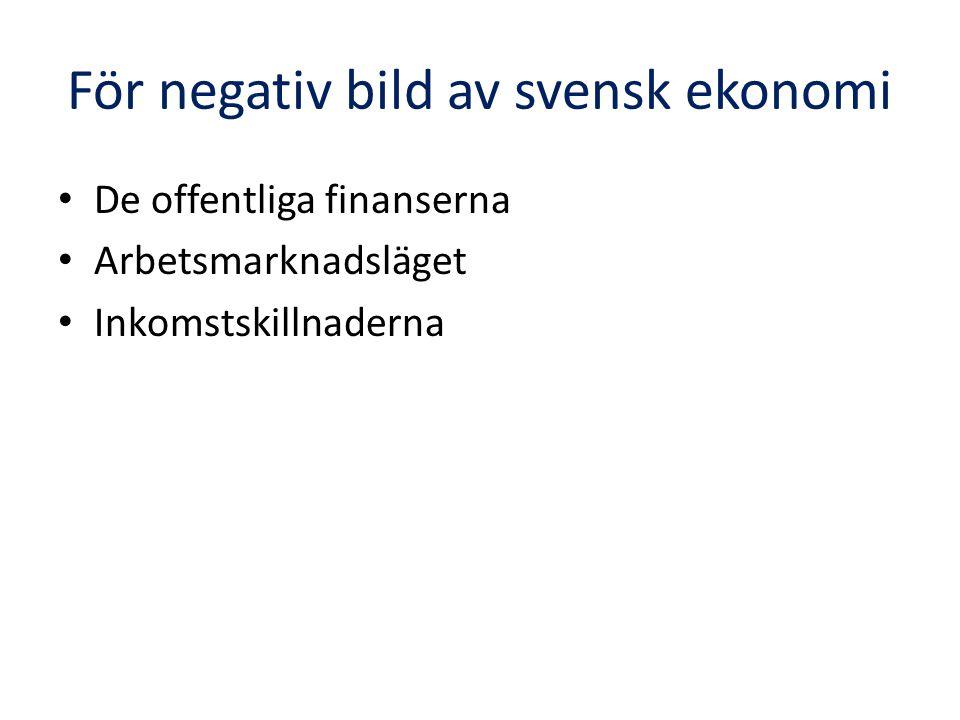 För negativ bild av svensk ekonomi De offentliga finanserna Arbetsmarknadsläget Inkomstskillnaderna