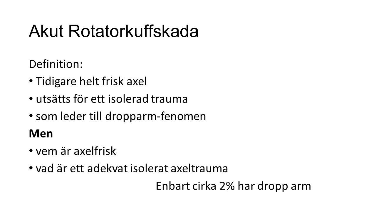Akut Rotatorkuffskada Definition: Tidigare helt frisk axel utsätts för ett isolerad trauma som leder till dropparm-fenomen Men vem är axelfrisk vad är ett adekvat isolerat axeltrauma Enbart cirka 2% har dropp arm