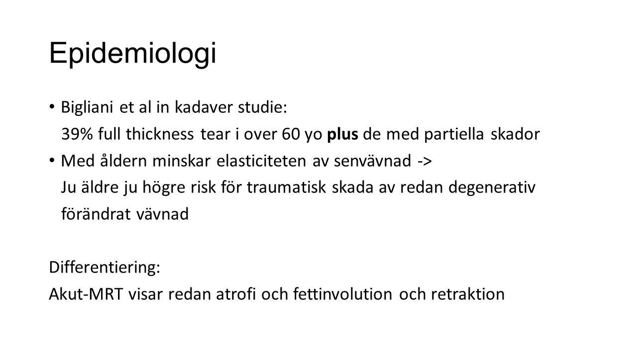 Epidemiologi Bigliani et al in kadaver studie: 39% full thickness tear i over 60 yo plus de med partiella skador Med åldern minskar elasticiteten av senvävnad -> Ju äldre ju högre risk för traumatisk skada av redan degenerativ förändrat vävnad Differentiering: Akut-MRT visar redan atrofi och fettinvolution och retraktion