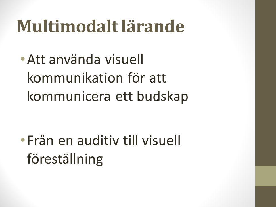Multimodalt lärande Att använda visuell kommunikation för att kommunicera ett budskap Från en auditiv till visuell föreställning