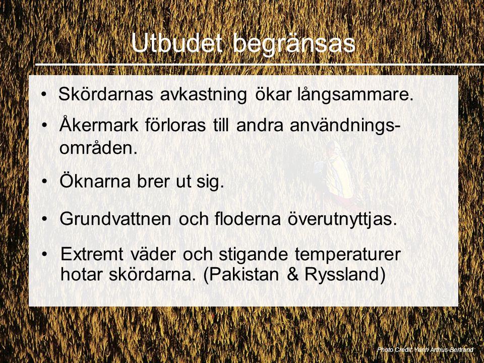 Utbudet begränsas Skördarnas avkastning ökar långsammare. Photo Credit: Yann Arthus-Bertrand Åkermark förloras till andra användnings- områden. Grundv