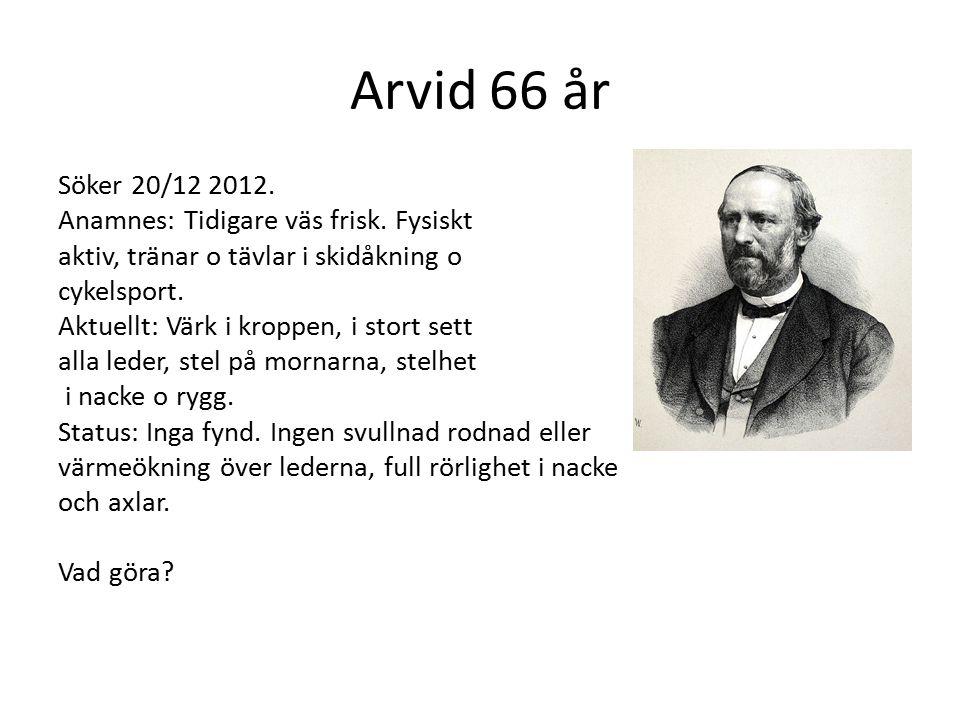 Arvid 66 år Söker 20/12 2012.Anamnes: Tidigare väs frisk.