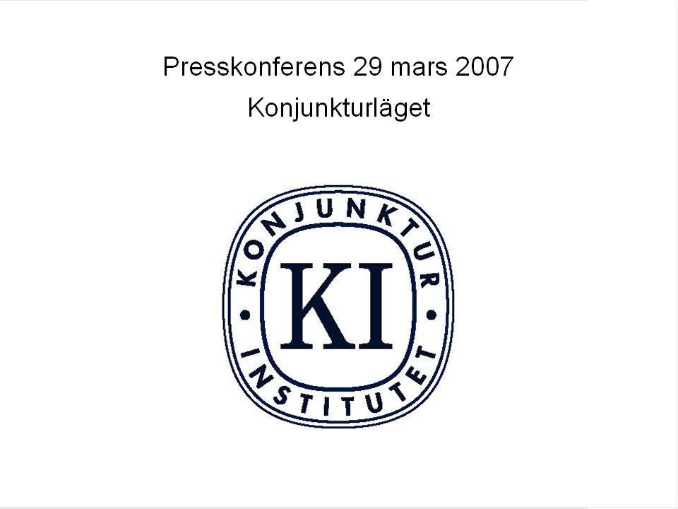 Prognosen i sammandrag (december inom parantes) 200620072008 BNP4,4 (4,3)3,9 (3,6)3,4 (3,2) Sysselsättning1,9 (2,0)2,2 (2,1)1,2 (1,1) Timlön i NL (KL)3,2 (3,2)4,1 (3,8)4,5 (4,1) UND1X1,2 (1,2)0,9 (1,2)1,7 (1,4) Offentligt finansiellt sparande* 2,1 (2,0)2,3 (1,8)2,7 (2,0) * Exklusive PPM.
