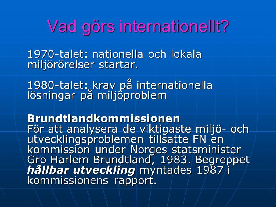 Vad görs internationellt? 1970-talet: nationella och lokala miljörörelser startar. 1980-talet: krav på internationella lösningar på miljöproblem Brund