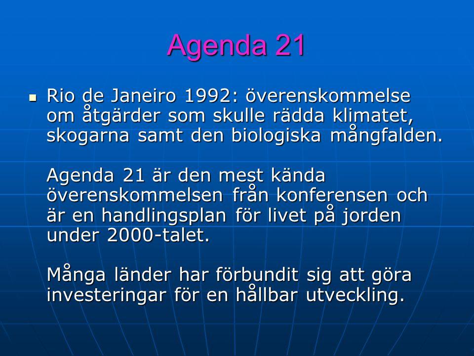 Agenda 21 Rio de Janeiro 1992: överenskommelse om åtgärder som skulle rädda klimatet, skogarna samt den biologiska mångfalden. Agenda 21 är den mest k