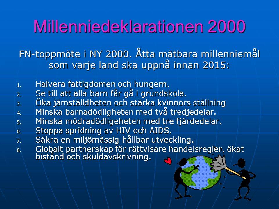 Millenniedeklarationen 2000 FN-toppmöte i NY 2000. Åtta mätbara millenniemål som varje land ska uppnå innan 2015: 1. Halvera fattigdomen och hungern.
