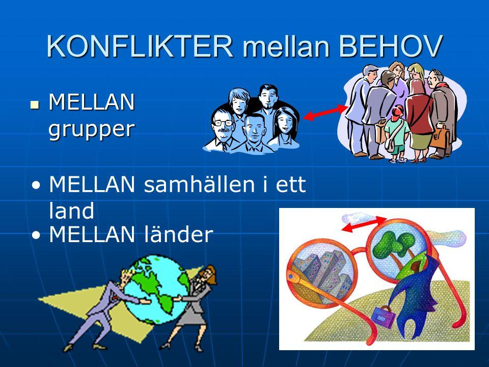 KONFLIKTER mellan BEHOV MELLAN grupper MELLAN grupper MELLAN samhällen i ett land MELLAN länder