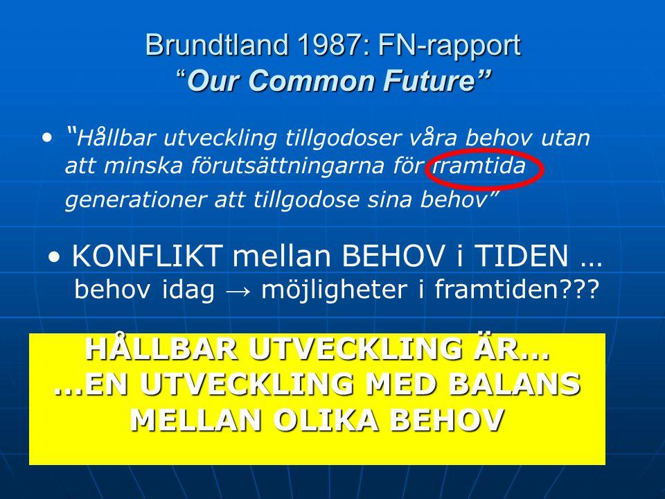 """Brundtland 1987: FN-rapport """"Our Common Future"""" HÅLLBAR UTVECKLING ÄR… …EN UTVECKLING MED BALANS MELLAN OLIKA BEHOV """" Hållbar utveckling tillgodoser v"""