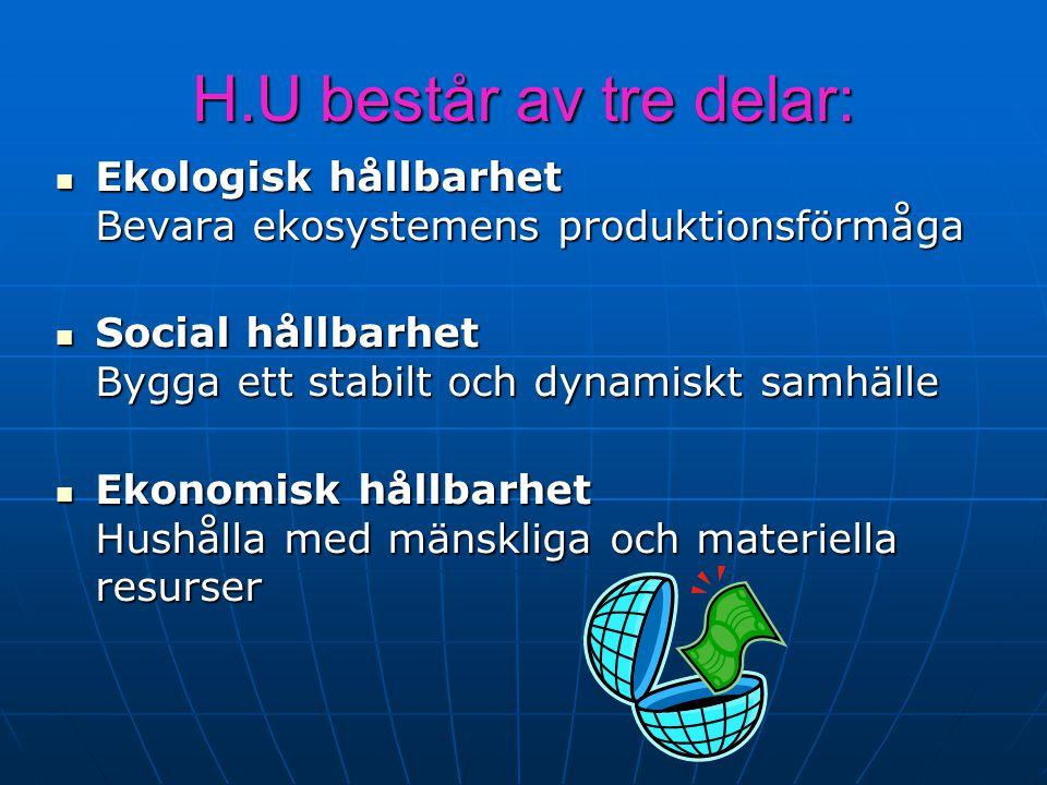 H.U består av tre delar: Ekologisk hållbarhet Bevara ekosystemens produktionsförmåga Ekologisk hållbarhet Bevara ekosystemens produktionsförmåga Socia