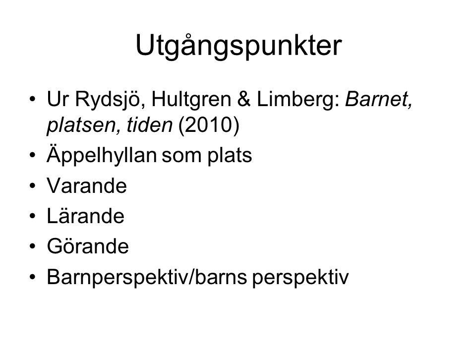 Utgångspunkter Ur Rydsjö, Hultgren & Limberg: Barnet, platsen, tiden (2010) Äppelhyllan som plats Varande Lärande Görande Barnperspektiv/barns perspektiv