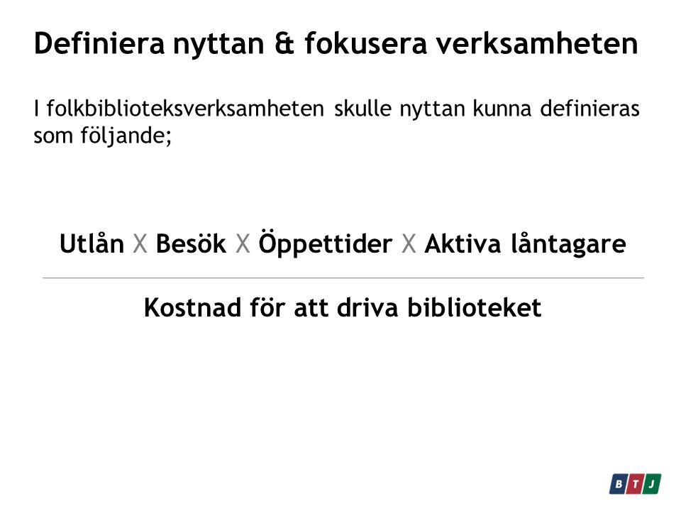 Definiera nyttan & fokusera verksamheten I folkbiblioteksverksamheten skulle nyttan kunna definieras som följande; Utlån X Besök X Öppettider X Aktiva låntagare Kostnad för att driva biblioteket