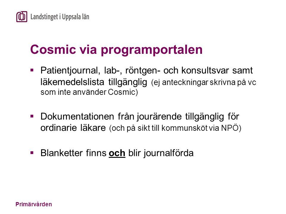 Primärvården Cosmic via programportalen  Patientjournal, lab-, röntgen- och konsultsvar samt läkemedelslista tillgänglig (ej anteckningar skrivna på vc som inte använder Cosmic)  Dokumentationen från jourärende tillgänglig för ordinarie läkare (och på sikt till kommunsköt via NPÖ)  Blanketter finns och blir journalförda