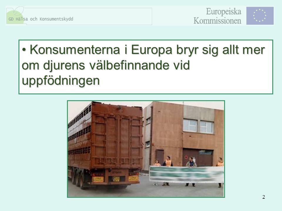 2 Konsumenterna i Europa bryr sig allt mer om djurens välbefinnande vid uppfödningen Konsumenterna i Europa bryr sig allt mer om djurens välbefinnande