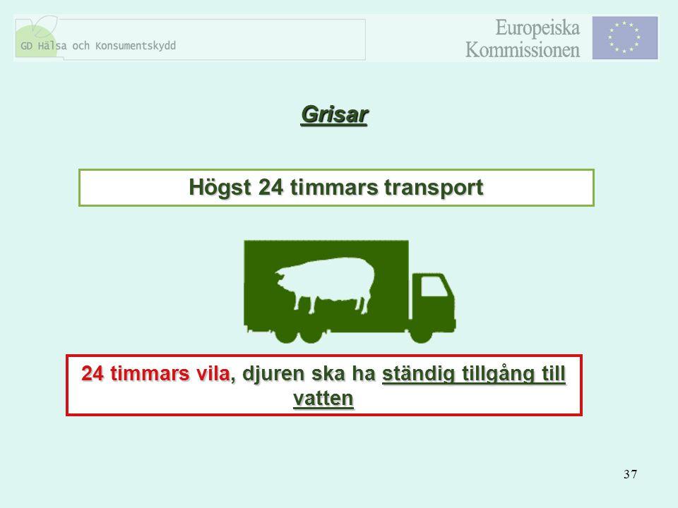 37 Grisar Högst 24 timmars transport 24 timmars vila, djuren ska ha ständig tillgång till vatten