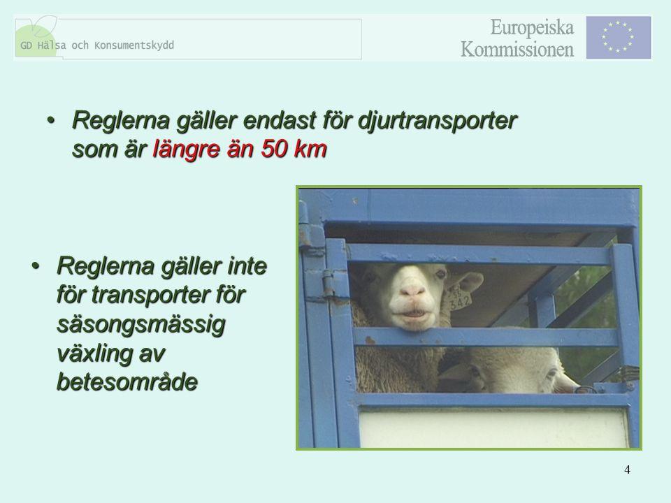 4 Reglerna gäller endast för djurtransporter som är längre än 50 kmReglerna gäller endast för djurtransporter som är längre än 50 km Reglerna gäller i
