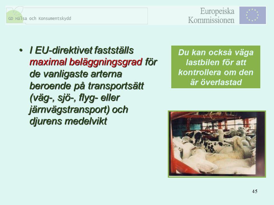 45 I EU-direktivet fastställs maximal beläggningsgrad för de vanligaste arterna beroende på transportsätt (väg-, sjö-, flyg- eller järnvägstransport)