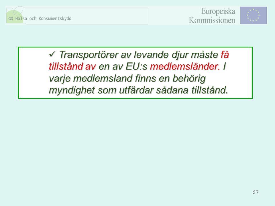 57 Transportörer av levande djur måste få tillstånd av en av EU:s medlemsländer. I varje medlemsland finns en behörig myndighet som utfärdar sådana ti