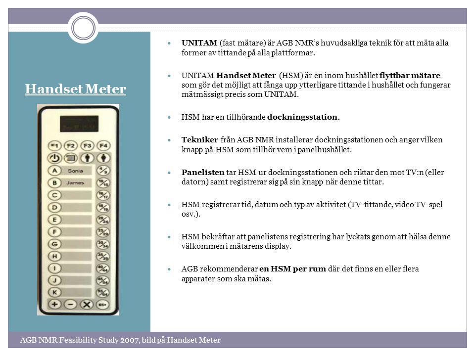 Handset Meter UNITAM (fast mätare) är AGB NMR's huvudsakliga teknik för att mäta alla former av tittande på alla plattformar.