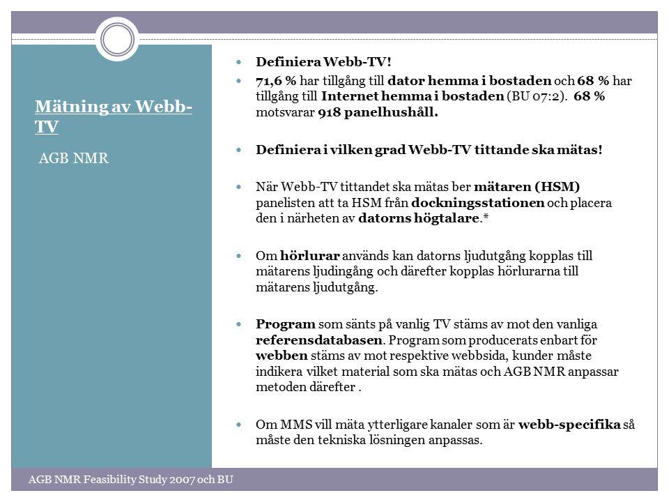 Mätning av Webb- TV AGB NMR Definiera Webb-TV.
