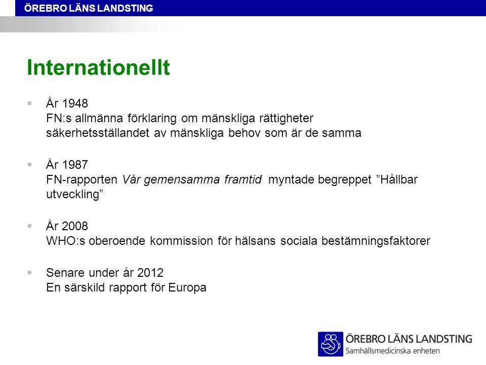 ÖREBRO LÄNS LANDSTING Internationellt  År 1948 FN:s allmänna förklaring om mänskliga rättigheter säkerhetsställandet av mänskliga behov som är de samma  År 1987 FN-rapporten Vår gemensamma framtid myntade begreppet Hållbar utveckling  År 2008 WHO:s oberoende kommission för hälsans sociala bestämningsfaktorer  Senare under år 2012 En särskild rapport för Europa