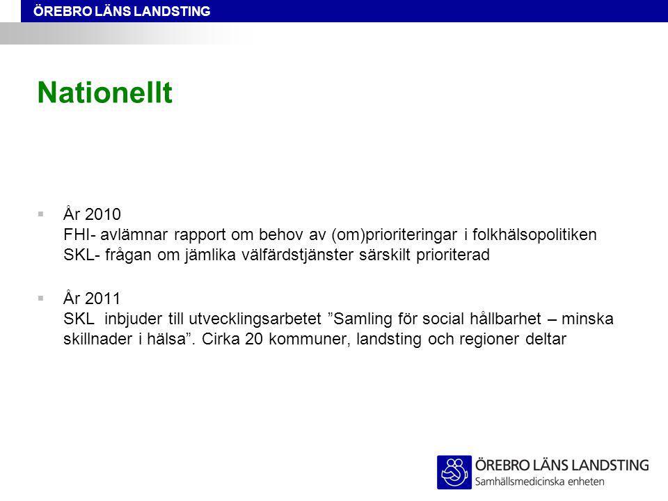 ÖREBRO LÄNS LANDSTING Nationellt  År 2010 FHI- avlämnar rapport om behov av (om)prioriteringar i folkhälsopolitiken SKL- frågan om jämlika välfärdstj