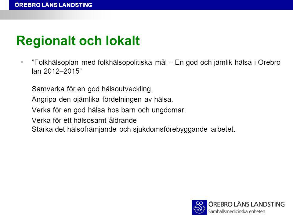 """ÖREBRO LÄNS LANDSTING Regionalt och lokalt  """"Folkhälsoplan med folkhälsopolitiska mål – En god och jämlik hälsa i Örebro län 2012–2015"""" Samverka för"""