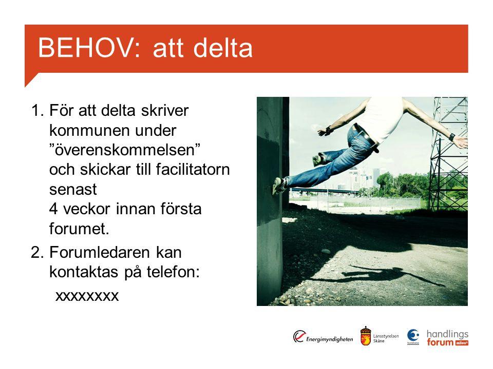 BEHOV: att delta 1.För att delta skriver kommunen under överenskommelsen och skickar till facilitatorn senast 4 veckor innan första forumet.