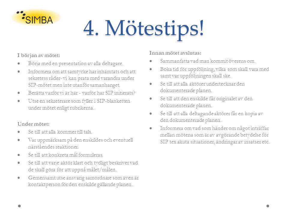 4. Mötestips! I början av mötet:  Börja med en presentation av alla deltagare.  Informera om att samtycke har inhämtats och att sekretess råder- vi